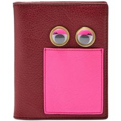 Fossil Rfid Eye Passport Holder and Wallet ($34) ❤ liked on Polyvore featuring bags, wallets, wine, real leather wallets, travel bag, leather bags, wine bag and pink leather bag