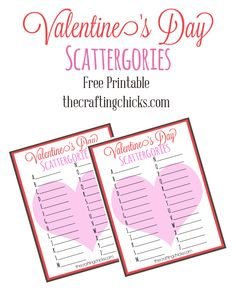 Valentine's Day Scattergories - great printable for class parties!
