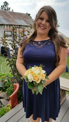 Peach and White Roses, wax flower, seeded eucalyptus nosegay bridesmaid bouquet.