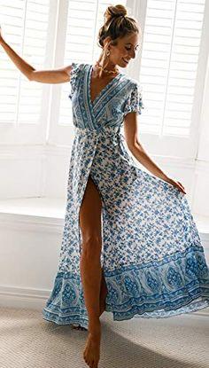Sexy Holiday Long Dress Women's Boho Dresses Lady Boho Floral V-neck Long Maxi Dress Summer Beachwear Sundress Ethnic Fashion, Boho Fashion, Mode Hippie, Look Boho, Boho Dress, Blue Floral Maxi Dress, Casual Dresses, Maxi Dresses, Beachwear