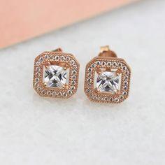 Rose Gold Stud Earrings - Molly & Pearl  - 1