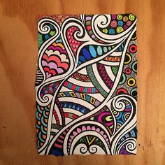 Loopy Tangle Indian Rag paper zen doodle using micron fineliners and coloured…