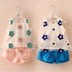 New Arrival Korean Style Girls Flower Clothing Set Baby Kids Vest Shorts Suit,High Quality Clothing Sets from Kids Fashion Clothing Baby Outfits, Little Girl Dresses, Kids Outfits, Girls Dresses, Baby Girl Fashion, Kids Fashion, Gilet Rose, Cheap Girls Clothes, Toddler Fashion