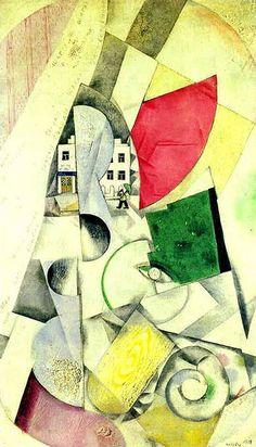 Marc Chagall - Cubist Landscape - 1918.  #art #artists #chagall