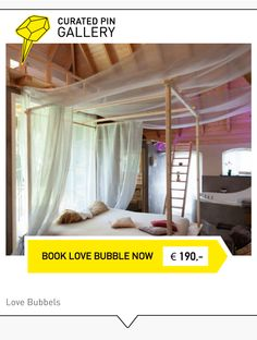 CURATED PIN / / / Wellness Love Bubble in Lochem   Een sfeervolle grote open ruimte met in het midden, voor het haardvuur, een groot hemelbed. In deze liefdesbubbel vind je alle wellness faciliteiten die je je maar kunt bedenken: hartvormig bubbelbad, Turks stoombad, sauna en koude stortdouche. Uitrusten kan boven in het lounge gedeelte of buiten op het privé terras met uitzicht op de koeien, slapen kan helemaal in de nok. Overnachting 2P. € 190,- inclusief ontbiijt Boek nu op…