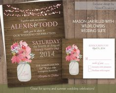 Rustic Mason Jar Country Wedding Invitations with dangling lights - Spring Summer Fall Wedding Pink Wildflowers - Choose Background Color by NotedOccasions, $35.00