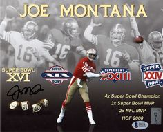 This is Photo that has been hand signed byÿJoe Montana.ÿIt has been certified authentic by Beckett Authentication (BAS) and comes with their sticker and matching certificate of authenticity. Nfl 49ers, 49ers Fans, Nfl Football, Fsu Baseball, 49ers Quarterback, Baseball Necklace, Football Stuff, Baseball Pants, Joe Montana