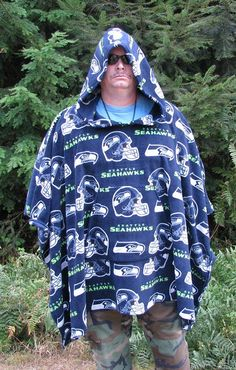 Hooded Fleece Poncho, Fleece hooded poncho, Men's poncho, NFL fleece, mens poncho, sports poncho, Hooded poncho, hooded poncho fleece by adfabinidaho on Etsy