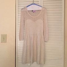 American eagle sweater dress Oatmeal sweater dress with sweetheart bustline. Has been well loved! American Eagle Outfitters Dresses Mini