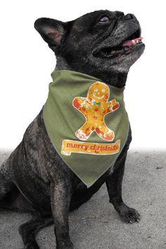 Christmas Dog Bandana Gingerbread Man Design by doggydesign