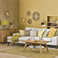 This honeycomb yellow living room with sunburst shades is a warm and vibrant space. Pair yellow hues with neutral tones to retain balance