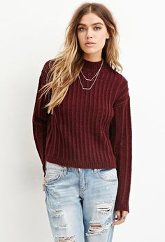Boxy Mock Neck Sweater   Forever 21 - 2000181829