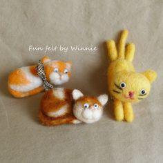 Needle felted Cat brooch handmade OOAK wool art by FunFeltByWinnie