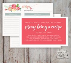 please bring a recipe instead of a card insert for bridal shower