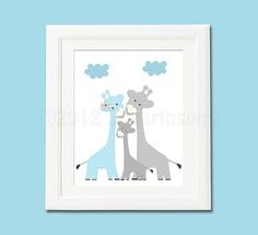 blue and grey Nursery Art  nursery room decor  by SugarInspire,