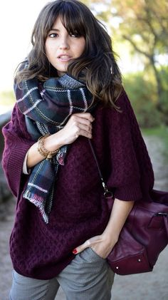 Yule style!! Noel Christmas! Winter solstice!! Eggplant plum purple knit wool sweater and bag - with a lovely matching gray-and-plum plaid scarf! Perfect Winter outfit!!