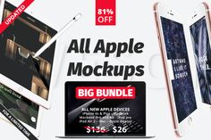 All apple mockups Big Bundle 81% OFF by AZDPIXELS on @creativemarket
