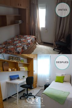 Antes y despues de Home Staging en dormitorio individual con espacio para estudio