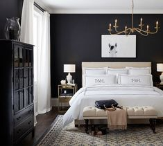 Belgian Linen Blackout Curtain Made with Libeco Linen - Charcoal Pottery Barn Master Bedroom Makeover, Master Bedroom Design, Home Decor Bedroom, Masculine Master Bedroom, Dark Master Bedroom, Bedroom Decor Master For Couples, Bedroom Ideas, Feminine Bedroom, Bedroom Colors