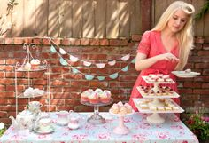 spring high tea in the garden, styled with a vintage flair and a hint of Cath Kidston style