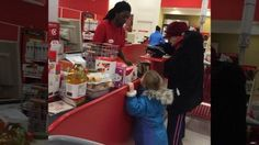 A cashier at an Indianapolis Target store displayed rare patience with an elderly customer paying with coins even as his line piled up.