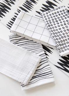 DIY Black & White Printed Napkins