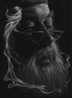 The Secrets Of Drawing Realistic Pencil Portraits - Just white pencil on black paper. More Secrets Of Drawing Realistic Pencil Portraits - Discover The Secrets Of Drawing Realistic Pencil Portraits Arte Do Harry Potter, Harry Potter Drawings, Harry Potter Fandom, Harry Potter World, Portrait Au Crayon, Pencil Portrait, Drawing Sketches, Pencil Drawings, Drawing Ideas