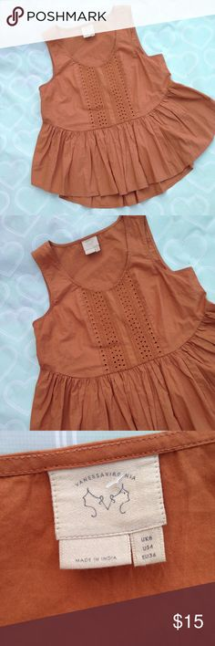 Anthropologie top size small Brand- VanessaVirginia   ***EUC women's top size small. Top is so well made and the fabric is very thick and high end- Anthropologie--burnt orange pumpkin in color- baby doll flowy top-- perfect for fall. VanessaVirginia Tops Blouses