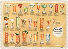 Vintage menu featuring classic cocktails and recipes.