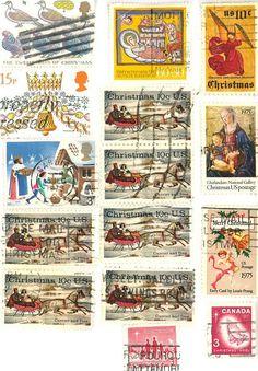 vintage christmas stamps scrapbooking by gracealleytreasures, $1.75