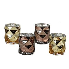 Set of 4 Glass Tea Light Holders with Diamond Facet Surface: Set of 4 heavy glass tealight holders / votives with diamond faceted surface and mirrored inner to enhance the reflection of light. Two in mottled bronze and 2 in motteled old gold. Designed by Pols Potten Studio in Holland.