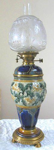 Giant Royal Doulton Porcelain Oil Lamp
