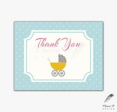 Stroller Thank You Cards - Printed or Printable, Retro Vintage Baby Girl Boy Shabby Chic Carriage Pram Blue Yellow Rose Polka Dot - #025
