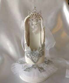 Cinderella themed tutu decorated pointe shoe in by DesignsEnPointe