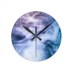 Blue and purple abstract heavenly clouds round wall clock by #PLdesign #AbstractSmoke #HeavenlyClouds