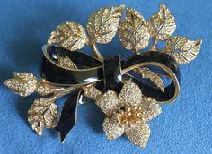 BG Vintage Pave Rhinestone Signed CINER Black Enamel Bow Knot Flowers Brooch Pin #Ciner