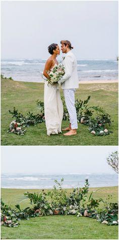 "Beach wedding, semi-circle of flowers, alternative ""altar,"" casual coastal-chic // Absolutely Loved"