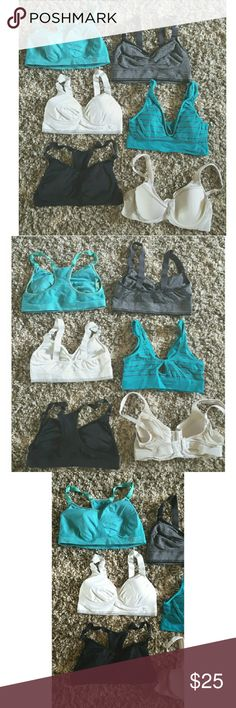 6 Various Sports Bras from Walmart Size MEDIUM There are 6 sports bras. Brands like Jockey and Marika. Most of them have the inserts. I am now a size Large and they don't fit anymore. Gently used and good condition. Most have adjustable straps. All sized medium. Great for B Cups. Most were $10 a piece so you are getting a great value Intimates & Sleepwear Bras