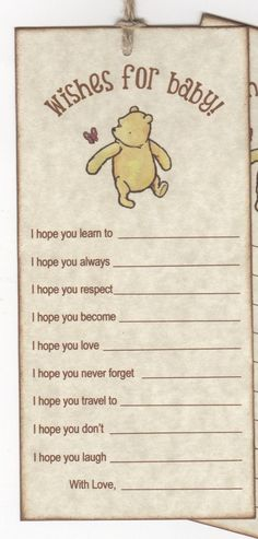 10 Winnie The Pooh Wish Cards, Baby Shower Wish Advice Card Tags For Baby Boy Or Girl - Vintage Style. These Baby Wish Cards are created on high #babyshowerboy