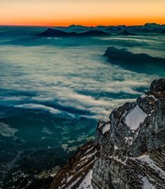 Beautiful view from the mountain top over the rising sun Sunrise, Travel Photography, Clouds, Sea, Mountains, Nature, Beautiful, Naturaleza, Sunrises