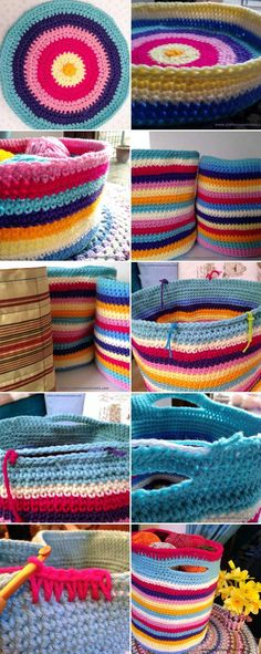 A monster stripy crochet stash basket crochet pattern/tutorial