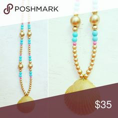 ??????Seashell Necklace ?????? Perfect with Lilly Pulitzer colors & design!  Handpicked North Carolina seashell enhanced with gold coloring to really pop.  Paired with electric blue and hot pink beading to really make this one-of-a-kind handcrafted piece stand out. Lilly Pulitzer Jewelry Necklaces