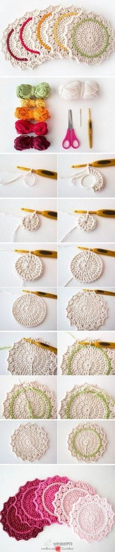 Stylish Two Color Coasters Create these stylish crochet coasters in two colors with this free crochet tutorial. Crochet Gratis, Crochet Diy, Crochet Home, Love Crochet, Learn To Crochet, Crochet Motif, Crochet Doilies, Crochet Flowers, Crochet Stitches