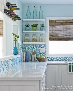 I love the organization, color and textures in this kitchen!