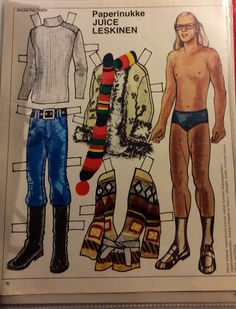 Finnish pAper doll Juice Leskinen 70's Fabric Doll Pattern, Fabric Dolls, Dress Up Dolls, Fashion Designer, Vintage Paper Dolls, Adult Children, Crafty Craft, Old Toys, Retro Vintage