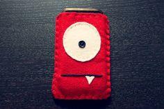Felt Monster Phone or iPod Sock/Cover by BABUA - Red - by babua on madeit www.madeit.com.au/babua
