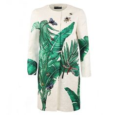 Dolce & Gabbana White & Green Silk & Cotton Blend Banana Leaf Brocade... (161.560 RUB) ❤ liked on Polyvore featuring outerwear, coats, jackets, dresses, long sleeve coat, dolce gabbana coat, green coat, silk coat and embroidered white coat