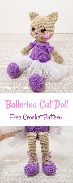 This Ballerina Cat Doll Crochet Pattern will help you to make a wonderful gift for a little girl!