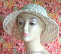 Free crochet pattern: Summer Breeze Hat, by Elaine Phillips on ABC Knitting Patterns; a soft cotton hat with a round lacy brim, about 3-4 inches wide.