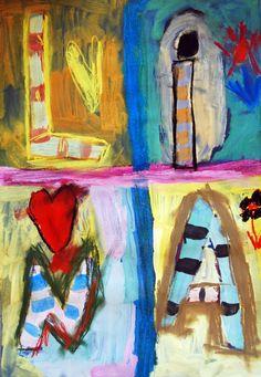 """Ein möglicher Einstieg zu dieser Unterrichtseinheit ist die Betrachtung des Bildes: """"Composition universelle"""" von Joaquin Torres Garcia. Die Aufteilung des Bildes in unterschiedlich große Rechtecke erinnert an einen Setzkasten, die gemalten Motive könnten, wie die Kinder beim Betrachten vermuten, Lieblingsgegenstände des Malers sein. Es finden sich aber auch die Initialen des Malers, Glückssymbole und vieles mehr in dem Bild. Die Schüler diskutieren lebhaft über die mögliche Bedeutu..."""